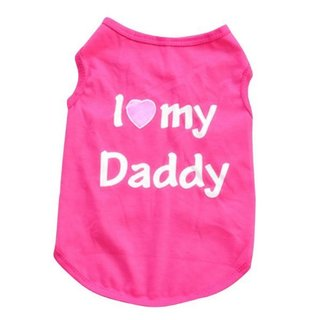 Hundeshirt mit der Aufschrift I love my Mommy / I love my Daddy Mommy Pink S